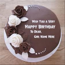 Write Name Customize Chocolate Rose Birthday Cake