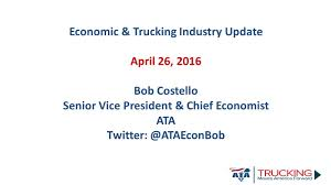 Economic & Trucking Industry Update April 26, 2016 Bob Costello ... Encouraging Women To Enter The Cadian Trucking Industry Wtf Canada Better Days Are Ahead For Trucking Industry Says Stifels John Chapter 4 The Operational Differences And Covenant Transportation Valuation May Be Near A Peak How Teslas Semitruck Could Disrupt Commercial Logistics Outlook Outlook 2018 By Ftr Tight Truck Mketmidyear Megacorp 2017 Truckers Logic Truck Drivers Struggles With Growing Driver Shortage Npr 128 Best Infographics Images On Pinterest Semi Trucks