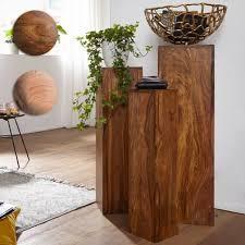 finebuy beistelltisch massivholz 3er set tische dekosäulen blumentisch