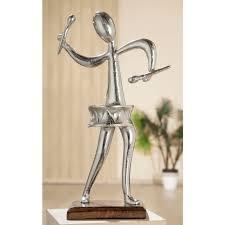gilde dekofigur skulptur figura trommler dekoobjekt höhe 40 cm aus metall sockel aus holz wohnzimmer