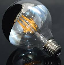 edison bulb half clear glass and half sliver color glass g95 led