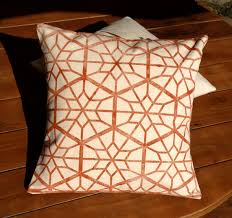 Handprinted Rustic Red Country Star Decorative Pillow Cover Unique Home Decor Throw
