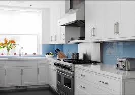 tile backsplash ideas kitchen blue glass wall tile