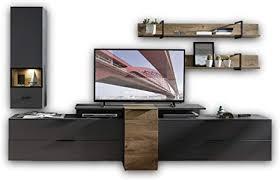 stella trading mediana wohnwand komplett set in haveleiche cognac optik graphit matt moderne schrankwand für ihr wohnzimmer 320 x 199 x 50 cm