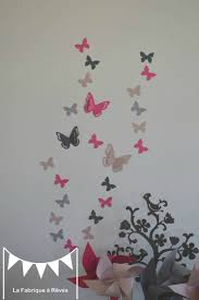 sticker chambre bébé stickers décoration chambre enfant fille bébé papillons fuchsia