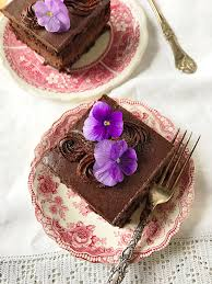 Download Chocolate Cake With Fresh Flowers Stock Image Image of forks servings