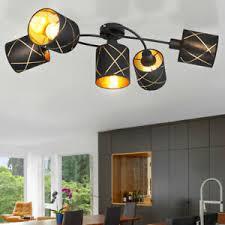 details zu deckenleuchte 5 flammig schwarz gold textil lenschirm wohnzimmer deckenle