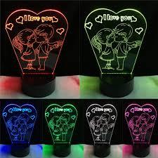 baise au bureau romantique baiser enfants je t aime 7 couleurs gradient led nuit