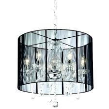 Black Drum Shade Chandelier With And Crystal Drops S Dining