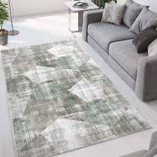 wohnzimmerteppich grau grün kurzfloorig modernes geometrisches design ver003