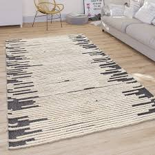 teppich wohnzimmer modernes skandi cut out muster kurzflor hell in creme