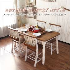 Seat Dining Table Set Antique Country 5 Piece 4 Persons 130 Cm Hand