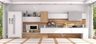 Modern White Kitchen Interior 3d Rendering Stockfoto Und Front View Of Modern White And Wooden Kitchen 3d Rendering