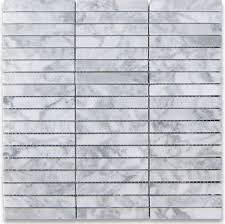 12 x12 carrara white rectangular stacked mosaic polished chip