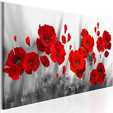 decomonkey bilder blumen mohnblumen rot 150x50 cm 1 teilig leinwandbilder bild auf leinwand vlies wandbild kunstdruck wanddeko wand wohnzimmer