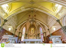 interior historical notre dame du mont church stock image