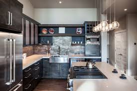Modern Rustic Kitchen Images White Bar Stools Seats Backrests Splashback Tiles Brick Pattern Marble Countertops Beautiful Chandelier Over The