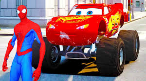 MONSTER TRUCK Lightning McQueen With Spiderman In Cars Cartoon, Cars ...