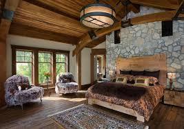 steinwand rustikales schlafzimmer viel holz