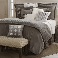 Quilted Gray Cotton Velvet Neutral Plaid White Cable Knit And Toggle Button Details Give The Cozy Silver Mountain Bedding Collection A Refined Look