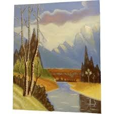 Ernest G Lucas Oil Painting On Board Mount Rainier With River Signed By Texas Artist