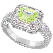 Sterling Silver Vintage Style Peridot Cubic Zirconia Engagement Ring Emerald Cut 1 2 Ct Cntr Sizes 6 9