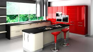 KitchenModern Kitchen Designs In Black White And Red Themed With Table