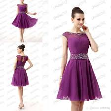 purple chiffon short homecoming dresses knee length sash pleated