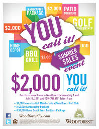 Woodforest – You Call It Summer Sales Event $2 000 Purchase a