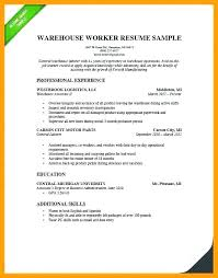 Warehouse Assistant Resume Sample Jobs Worker Without For War