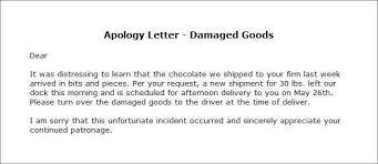 Apology Letter Damaged Goods