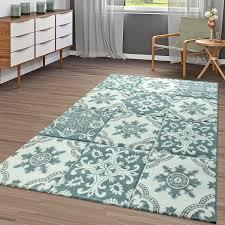 kurzflor teppich karo orient pastell türkis