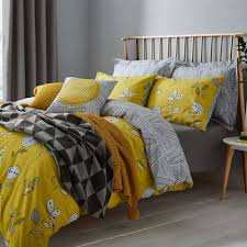 elements sunflower yellow reversible duvet cover and pillowcase