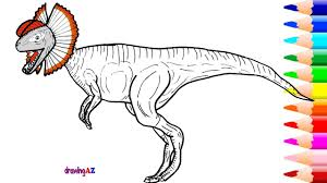 Drawing And Coloring Dilophosaurus Dinosaur In Jurassic World Pages