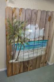 Coastal Chic Boutique Beach Scene On Weathered Fence PaintingPallet
