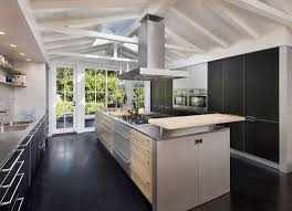 contemporary kitchen with gas stove pendant light in santa