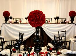 Black Red And White Wedding No 1 Roses In Vases Glasses Plates Table Sitting Frames Clothes Chairs Rose