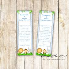 Jungle Bookmark Favor Baby Boy Shower Blue Printable