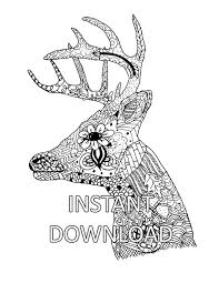 Coloring Page Sheet Deer Head Animal Adult Hand Drawn Printable