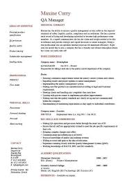 QA Manager Resume Quality Assurance Safety CV Job Description Career Qualifications Example