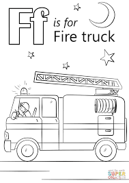 Letter F Is For Fire Truck Coloring Page | Free Printable Coloring Pages
