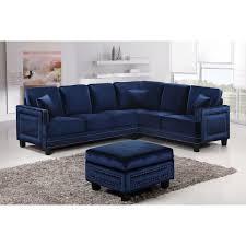 Ferrara Sectional Sofa In Navy Velvet W Nailhead Trim By Meridian Furniture