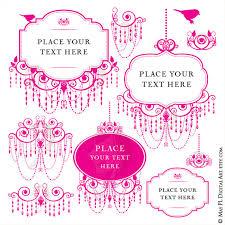 Pink Chandelier Frames Clip Art For Blog Branding Or DIY Business Wedding Logo