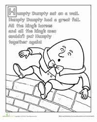 Preschool Reading Writing Worksheets Humpty Dumpty Nursery Rhyme