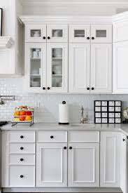 Small Subway Tile In Kitchen Traditional With Black Cabinet Hardware All White