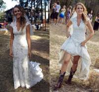 2018 Vintage Country Wedding Dresses V Neck Cap Sleeves Floor Length Lace Cowgirls High Low Backless Bridal Gowns