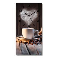 wanduhr aus glas 30x60 cm glasbild glasuhr gehärtetes glas eine tasse kaffee