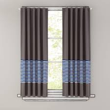 Land Of Nod Blackout Curtains by Organic New Blue Stripe 63