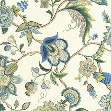 Jacobean Floral Design Curtains by Blue Jacobean Floral Linen Fabric Traditional Drapery Fabric