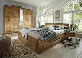 спальный гарнитур massivholz schlafzimmer set 5teilig wildeiche l schubladenbett schrank 5trig